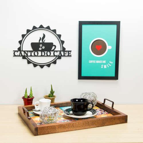 Palavra Decorativa para Parede - Canto do Café - 24 x 33 cm