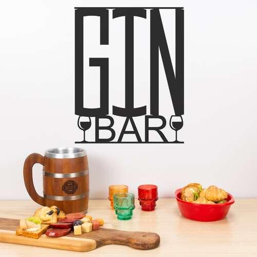 Palavra decorativa para parede - Gin Bar - 32 x 26 cm