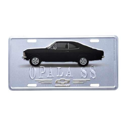 Placa Decorativa de Metal 15 x 30 cm - GM Opala 1971 Preto e Prata