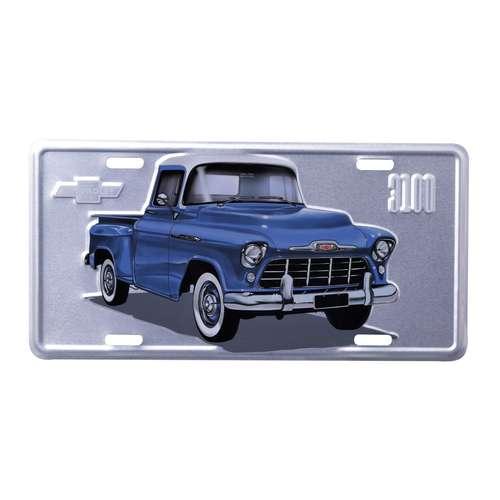 Placa Decorativa de Metal 15 x 30 cm - GM Pick Up 3100 Authentic Azul