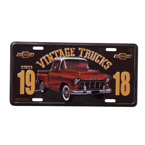 Placa Decorativa de Metal 15 x 30 cm - GM Pick Up 3100 Authentic Vermelha