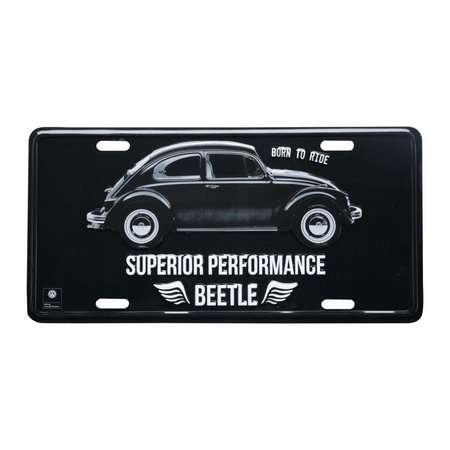 Placa Decorativa de Metal 15 x 30 cm - VW Beetle Preto