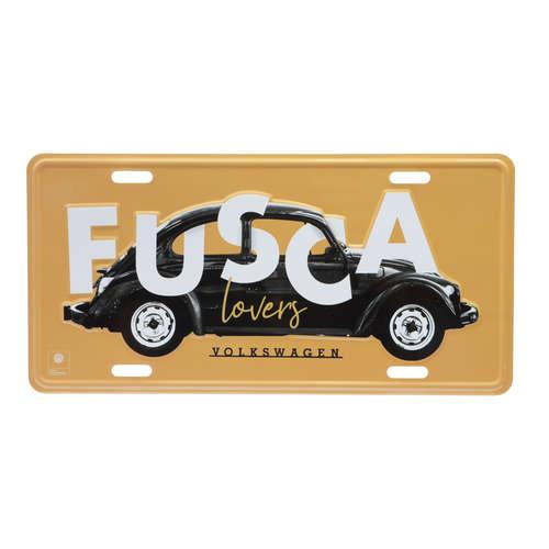 Placa Decorativa de Metal 15 x 30 cm - VW Fusca Lover - Fundo Amarelo