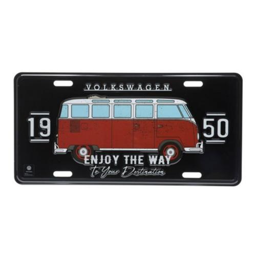 Placa Decorativa de Metal 15 x 30 cm - VW Kombi Enjoy The Way