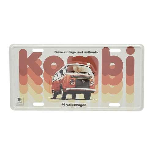 Placa Decorativa de Metal 15 x 30 cm - VW Kombi Vintage Authentic