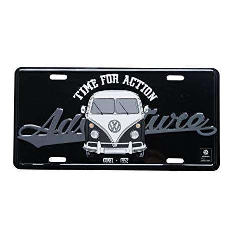 Placa Decorativa de Metal 15 x 30 cm - VW Kombi Vintage Preto