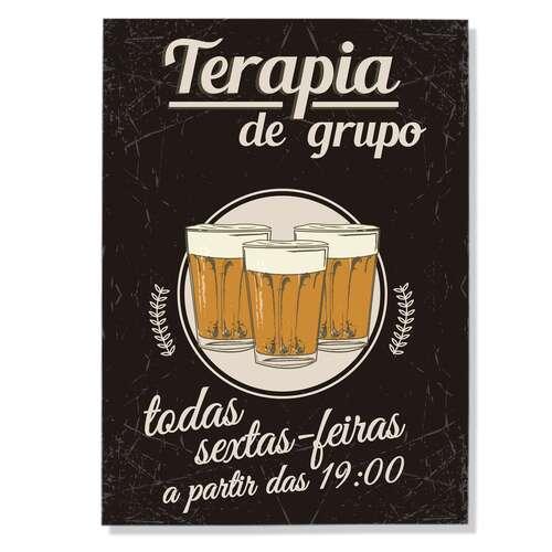Placa Decorativa de Metal Terapia de Grupo - 21x30cm