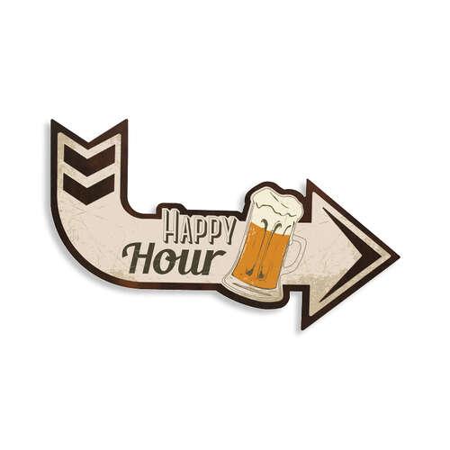 Placa Decorativa de Metal - Happy Hour