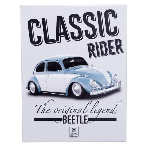 Placa Decorativa de Metal - VW Fusca Classic Rider - 26 x 19 cm