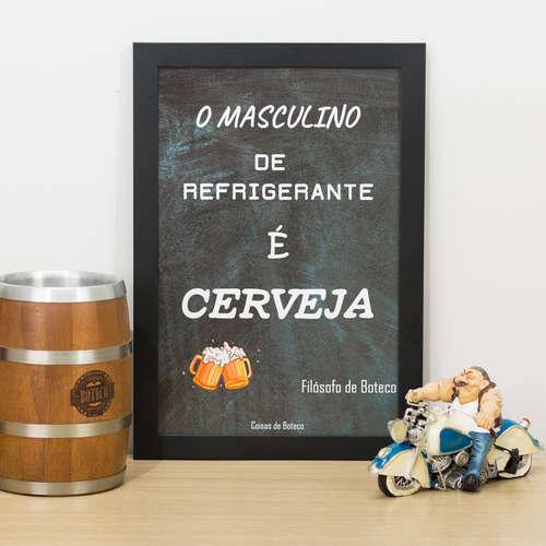 Quadro O Masculino de Refrigerante - 33x22 cm