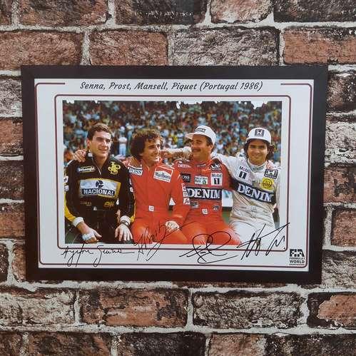 Quadro Ayrton Senna, Prost, Mansell, Piquet- 33x45 cm