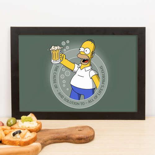 Quadro Homer Simpson - A Solução dos problemas  - 23x33 cm