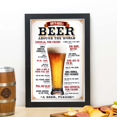 Quadro How To Order a Beer Around The World - 33x23 cm