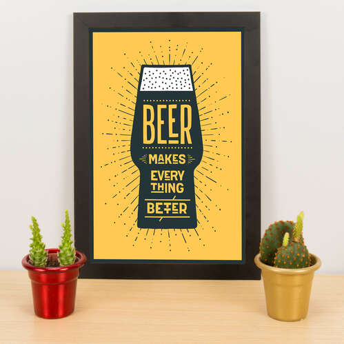Quadro - Beer makes everything better -  Amarelo - 33x23 cm
