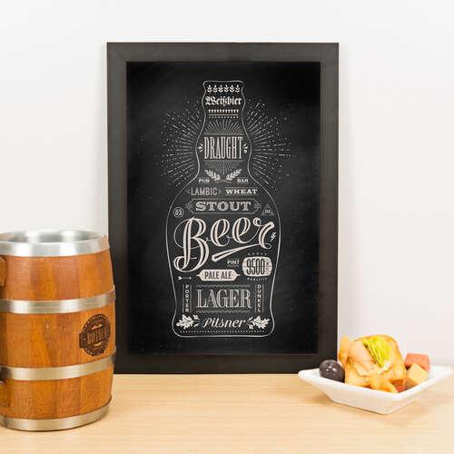 Quadro - Estilos de Cerveja - Preto - 33x23 cm