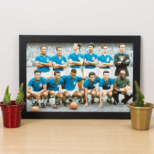Quadro Seleção Brasileira 1958 Colorido - 22x33 cm