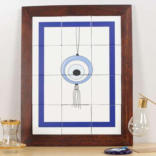 Quadro de Azulejos - Olho Grego - 47 x 37 cm
