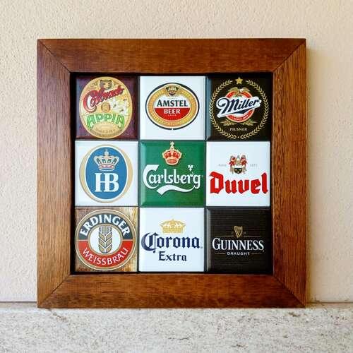 Quadro de Azulejos - Cervejas 2 - 28 x 28 cm