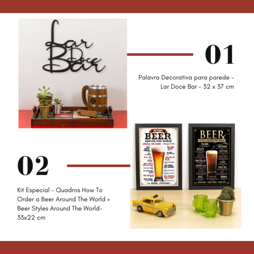 Quadros Beers 33x22 cm + Lar Doce Bar - 32 x 37 cm