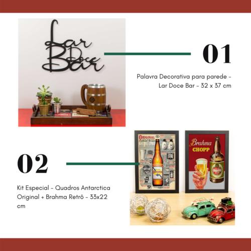 Quadros Original + Brahma Retrô 33x22 cm + Lar Doce Bar - 32 x 37 cm